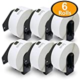 6 Rolls Brother-Compatible DK-1201 P-Touch 29mm x 90mm(1-1/7'' x 3-1/2'') 2400 Standard Address Labels With Cartridge