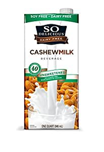 So Delicious Dairy Free Cashew Milk Beverage, Unsweetened, 32 Fluid Ounce (Pack of 6)