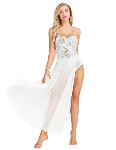 Agoky Women's Sequins Lyrical Ballet High Low Dance Dress Leotard Adult Camisole Dress White Large]()