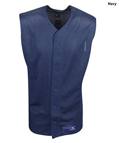 tton Mesh Sleeveless Baseball Jersey, Navy, Large (Sleeveless Button Front Jersey)