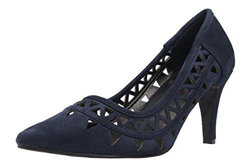 Andres Machado Damen Pumps - Blau Schuhe in Übergrößen