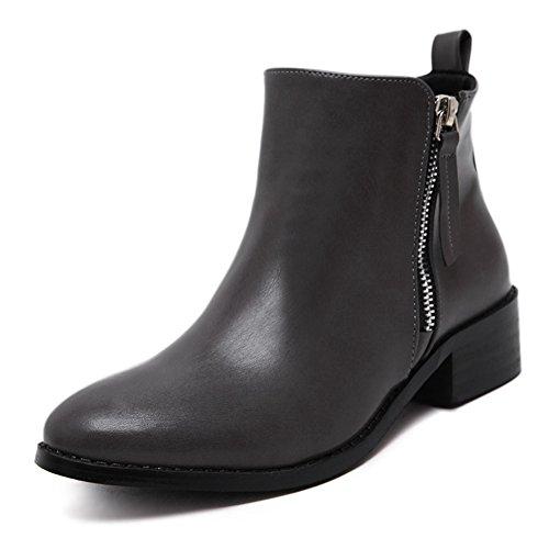 Giy Kvinnor Vinter Boots - Låg Klack Vattentät Halkfria Dragkedja Tossor För Kvinnor Mörkgrå
