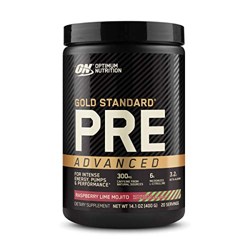 Optimum Nutrition Gold Standard Pre Workout Advanced, with Creatine, Beta-Alanine, Micronized L-Citrulline and Caffeine for Energy, Keto Friendly, Raspberry Lime Mojito, 20 Servings