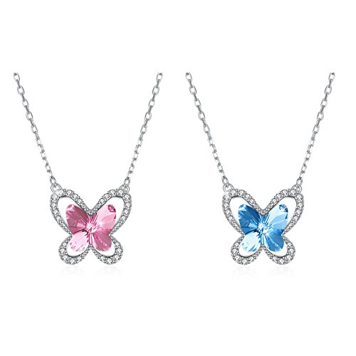 OMZBM 925 Sterling Silver Butterfly Crystal Necklace Hypoallergenic Dangle Adjustable Necklace Women Girl Jewelry Plating Platinum,C