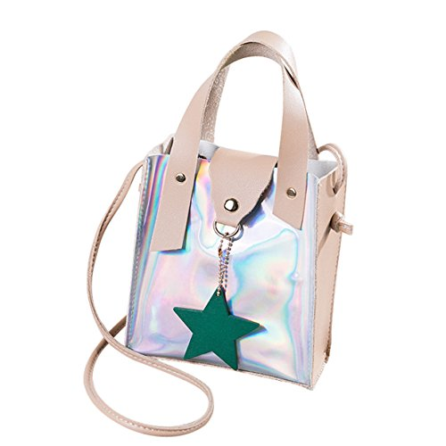 Sales! ▼BYEEE▼Stars Ornaments Silver Color Block Patchwork Crossbody Bag Handbag Coin Purse Cell Phone Pouch Shoulder Bag (1PC Bag, Beige)