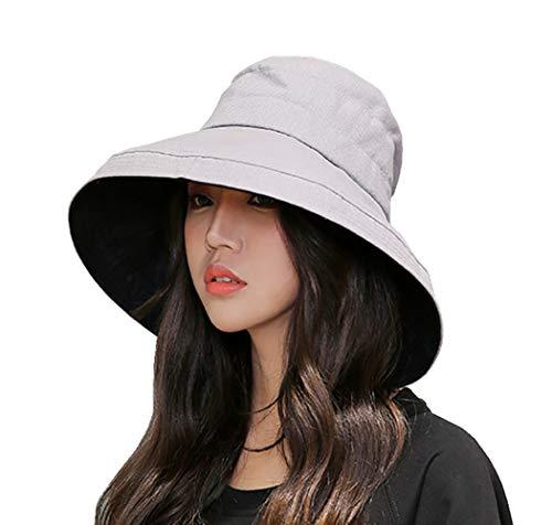 FaroDor Women Reversible Bucket Hat UV Sun Protection Wide Brim Summer Beach Hat Packable Gray ()