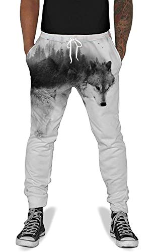 Teen Boys Girls Printed Jogger Pants Wolf Funny