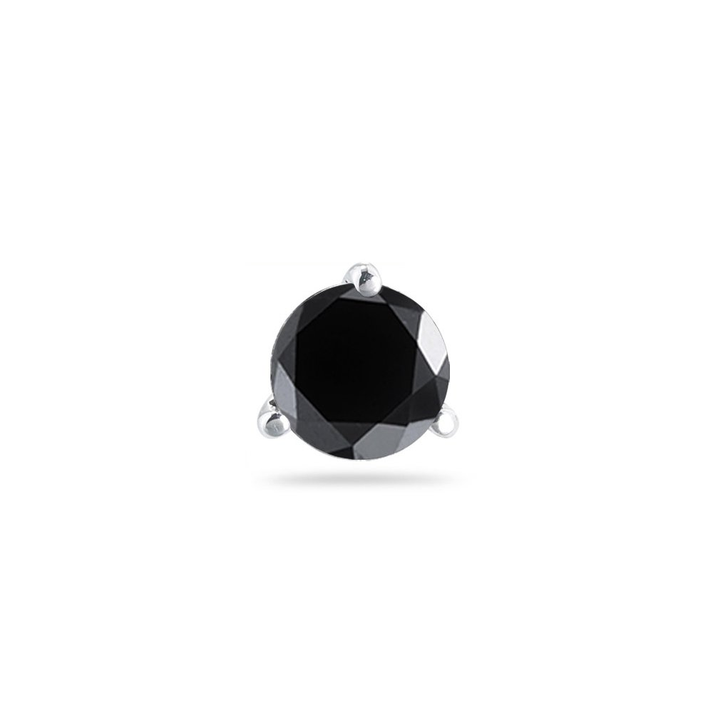 1//2 Cts of 4.89-4.93 mm Black Diamond Mens Stud Earring in 14K White Gold