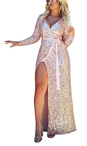 Joyfunear Women's Sequined Long Sleeve Slit Evening Party Cocktail Maxi Long Dress Prom Gown Pink Medium - Evening Gown Multi Colored