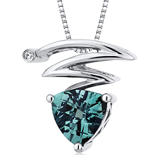 Simulated Alexandrite Pendant Necklace Sterling Silver Trillion Checkerboard Cut
