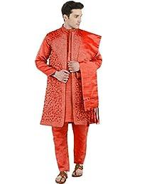 SKAVIJ Men's Embroidered Kurta Pajama Jacket and Stole Set (Orange, X-Large)