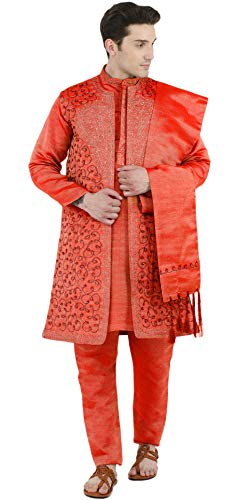 Wedding Kurta Pajama Sherwani 4-Pieces Set Men Indian Wear Long Sleeve Button Down Shirt Party Dress -L by SKAVIJ
