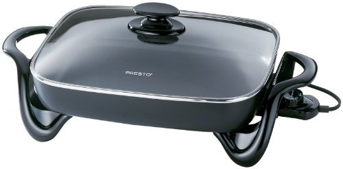 Presto Electric Skillet 1500 W 16 In. Cast Aluminum, Non-Stick Inside & Out, With Glass Cover