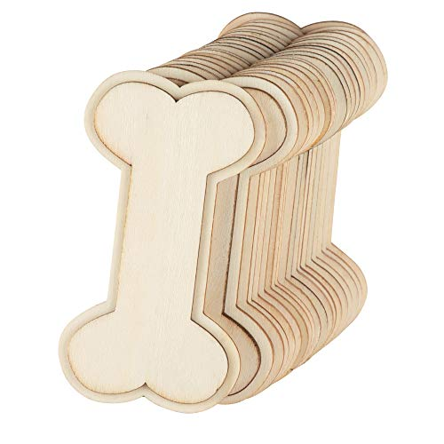 24-Pack Unfinished Wood Dog Bone Cutout - 4.1 x 2.2-Inch Shaped Wood Pieces for Kids DIY Craft, Dog House Decoration
