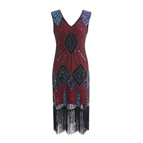 HongMong Charming Women's 1920s Vintage Flapper Fringe Beaded Great Gatsby Party Dress Red