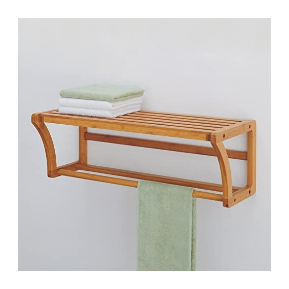 Organize It All Natural Bamboo Wall Mounting Shelf with Towel Bars - Extra space Sturdy Easy to assemble - wall-shelves, living-room-furniture, living-room - 41TFwZd47RL. SS570  -