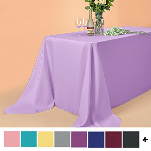Lavender Cloths (Remedios 90 x 132-inch Rectangle Polyester Tablecloth Table Cover - Wedding Restaurant Party Banquet Decoration, Lavender)