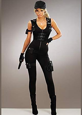 Magic Box Disfraz de Mujer policía SWAT Deluxe S (UK 8-10): Amazon ...