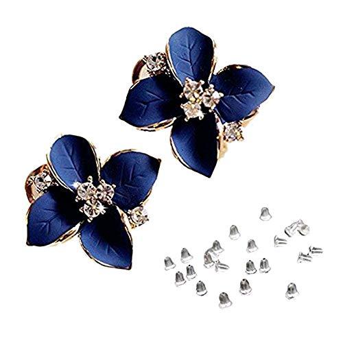 Demarkt 1PCS Fashion Elegant Cute Lady Girls Blue Flower Crystal Ear Stud Earrings ()
