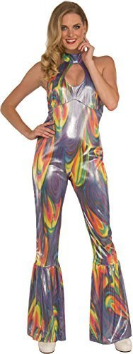 Pizazz Women's 70s Dancing Fool Shiny Fusion Halter Top Jumpsuit Costume Medium 8-10