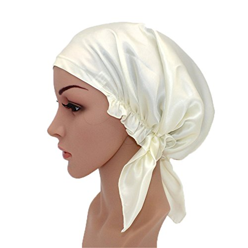 Mulberry Natural (Urban Virgin 100% Mulberry Silk Night Sleeping Cap For Long Hair Bonnet Hat Smooth Soft Many Colors, Hair Care)