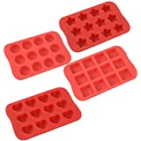 COLIBROX Silicone Baking Mold, Chocolate Molds&Candy Molds Set, Tray 4-in-1 Silicone Molds Set for Cupcakes,Muffins,Soap and