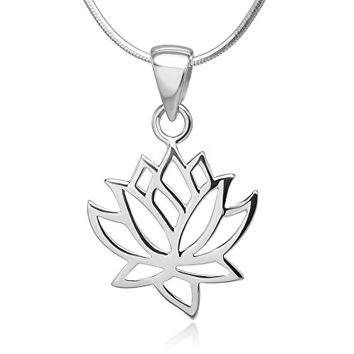 Open Woman Lotus Flower Pendant Necklace Italian Silver Chain 18 inches (Sterling Silver Flower Pendant)