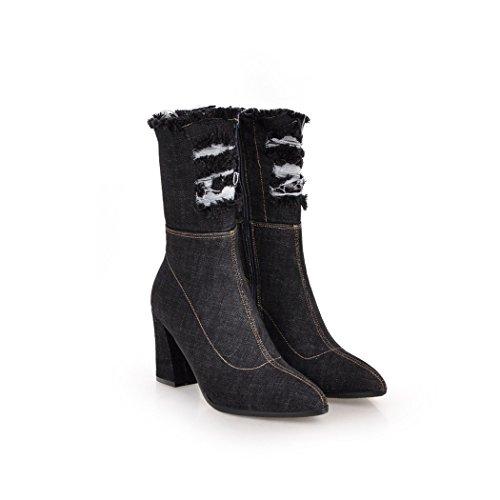wetkiss Fashion Women Denim Ankle Bootie Ripped Hole Denim Lady Autumn Winter Boots Shoes Woman Black