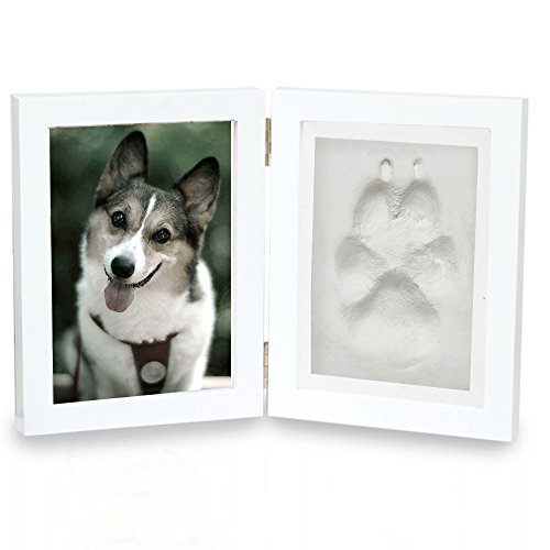 """Pet Memorial Frame, Dog Cat Paw Print Keepsake Photo Ornament with Clay Imprint Kit from FS, 5x7"""" (White, Pine Wood)"""