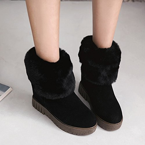 Outdoor Fur Nubuck Boots Carolbar Warm Wedges Women's Snow Faux Black q1xtP