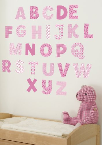 Abc Alphabet Wall Border (Funtosee Upper & Lowercase Alphabet Wall Decals, Pink)