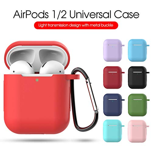 AirPods case,Silicone Case with Keychain Shockproof Protective Cover Compatible with Apple AirPods[Pink][Purple][Black][Blue][Deep red] (6 Pack)