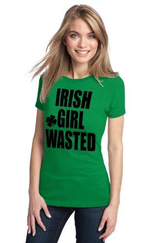 IRISH GIRL WASTED Ladies' T-shirt / St. Patty's Day Irish Humor Tee