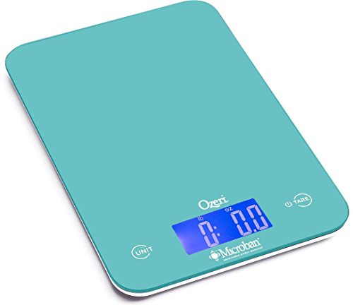 Touch Antimicrobial - Ozeri Touch II Digital Kitchen Scale with Microban Antimicrobial Product Protection, 18 lb, Teal Blue