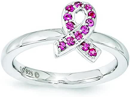 Breast Cancer Awareness Sterling Silver Stackable Expressions Rose Swarovski Elements Ring - Size 9