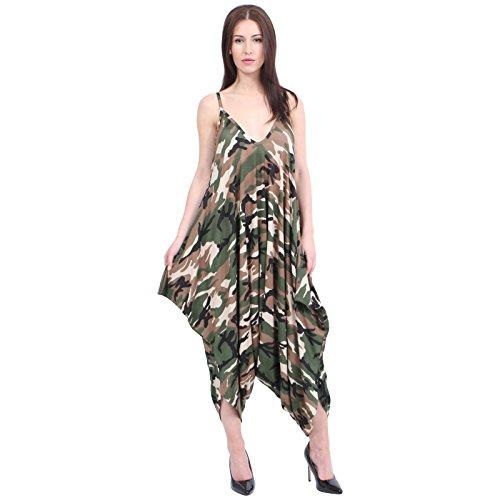 Neuf Femmes Caraco Lagenlook Barboteuse En Vrac Combinaison Sarouel Combinaison Pantalon Grande Taille - Femmes, Camouflage, S/M - (36-38)