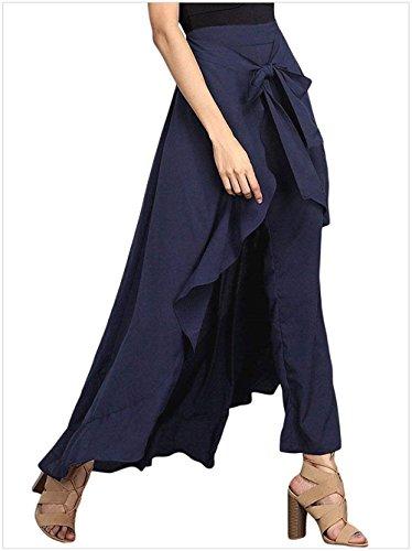 Baggy Pantaloni Palazzo Blau Eleganti Sciolto Fashion Giovane Monocromo Harem Ragazze Con Casual Volant Donna Aladin High Waist Irregular Estivi f5qwdax