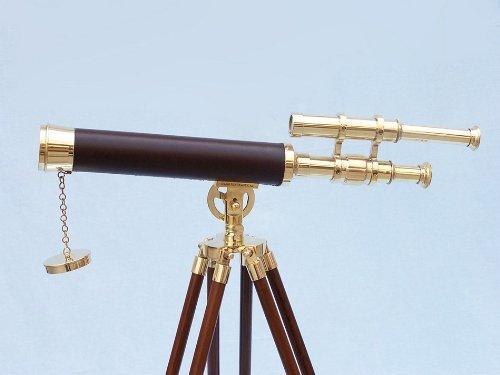Hampton Nautical  Floor Standing Brass/Leather Griffith Astro Telescope, 44'', Brass
