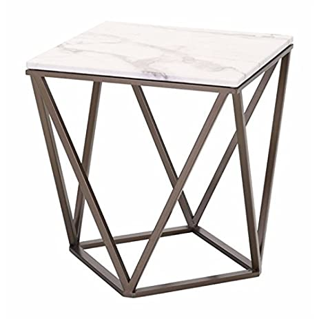 Brika Home Faux Marble Top End Table In Stone And Antique Brass