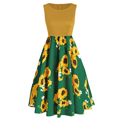 Aunimeifly Ladies Summer Sweet Style Sundress Sleeveless Solid Color and Sunflower Print Pleated Swing Dress Green