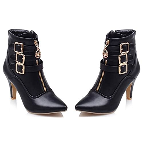 bc1ac90ad825 IDIFU Women s Dressy Buckled Pointed Toe High Block Heels Side Zip Up Ankle  Boots Short Booties