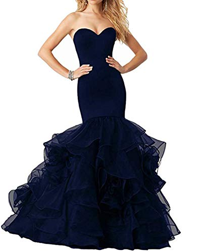 Silk Cascading Ruffle Dress - Scarisee Women's Mermaid Trumpet Sweetheart Evening Dresses Cascading Ruffles Prom Party Gowns Formal Navy Blue 24 Plus