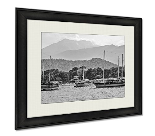 Ashley Framed Prints Passenger Boats In Mediterranean Sea Kemer Antalya Turkey Moonlight Beach, Wall Art Home Decoration, Black/White, 34x40 (frame size), AG5880286 (Moonlight The Turkeys In)