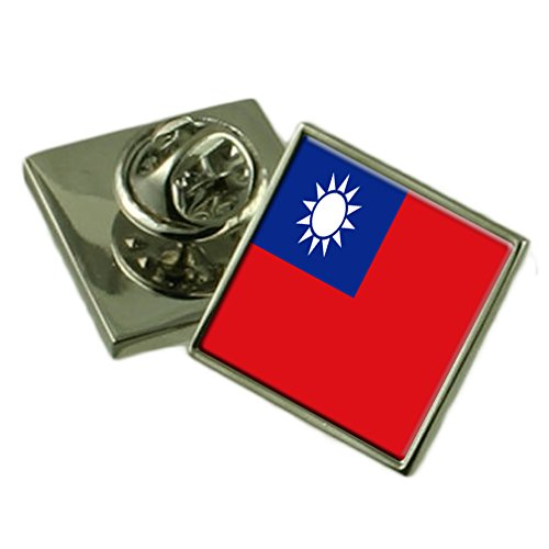Taiwan Flag Lapel Pin Badge 18mm Square Select Gifts Pouch - Emblem Flag Lapel Pin