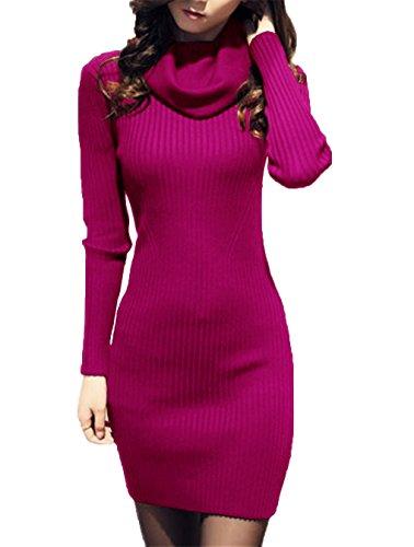 V28 Women Cowl Neck Knit Stretchable Elasticity Long Sleeve Slim Fit Sweater Dress (USASize 2 To 8, Plum)