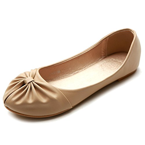 Comfy Ollio Down Cute Ballet Ribbon Shoe Flat Beige Women's xtRtrqa