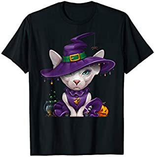 Sphynx Cat Witch Halloween T-shirt | Size S - 5XL
