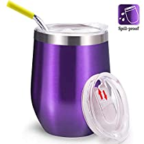 Spill Proof Wine Tumbler with Lid and Straw, FUNCUBE 12oz Stainless Steel Double Insulated Tumbler Cup for Hot or Cold Drinks, Outdoor Stemless Wine Glasses Unbreakable Coffee Mug