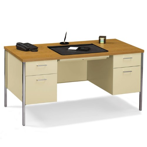 - HON Company Desk, Double Pedestal, 60amp;quot;X30amp;quot;X29-1/2amp;quot;, Medium Oak/Putty