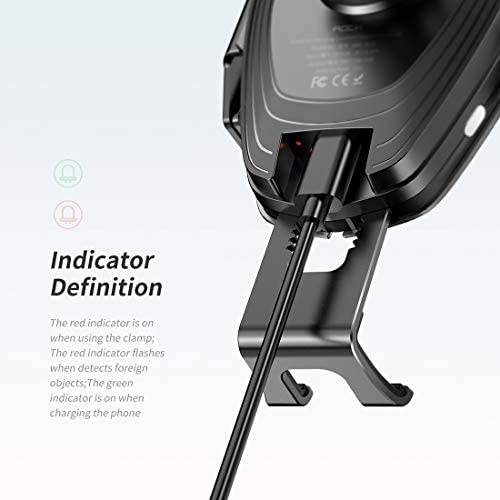 Cargador de coche RWC 0232-10W QI giratoria táctil infrarroja de inducción de carga inalámbrica del coche Salida de aire Soporte de 4.7 a 6.5 pulgadas Teléfonos móviles, Versión B (Negro), cargador de:
